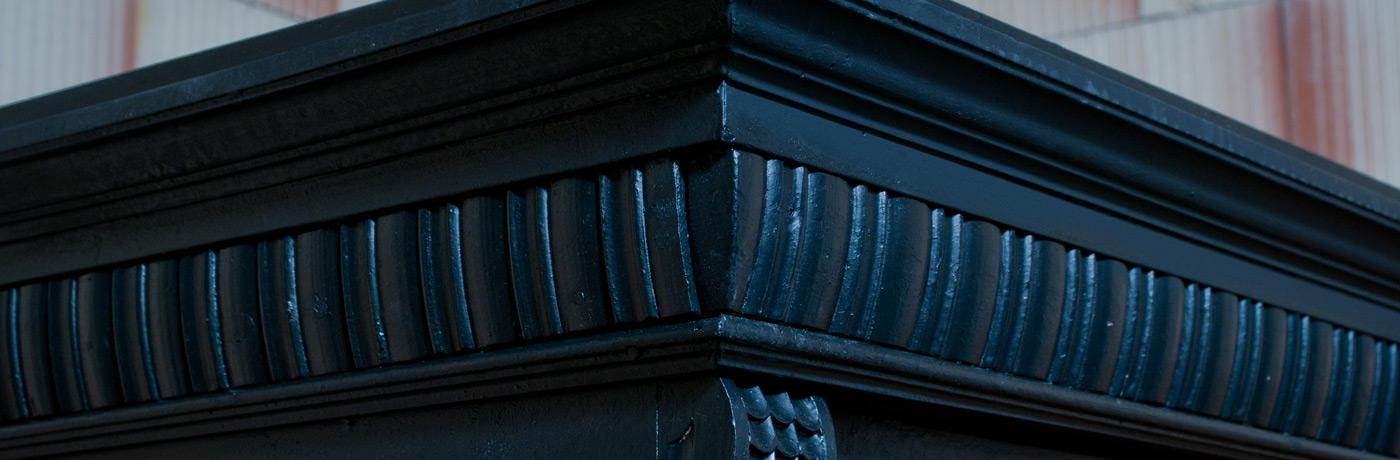 antiker Bauernschrank, Kleiderschrank, schwarz, restauriert - Schrank 9